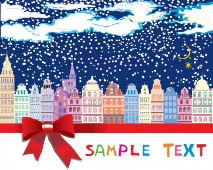 free vector The cartoon christmas house background 05 vector