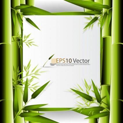 Green bamboo background text template vector 1