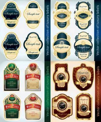 European classic bottle label stickers vector