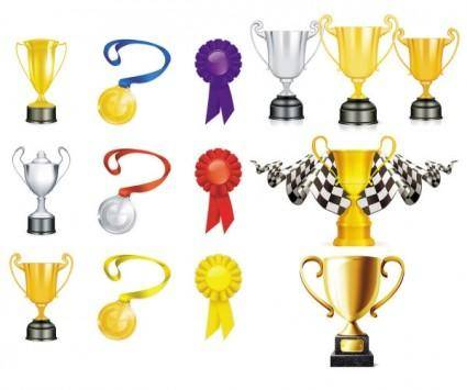 free vector Trophy gold and silver medals vector