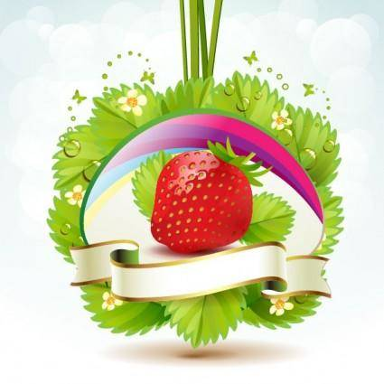Strawberry theme background 04 vector