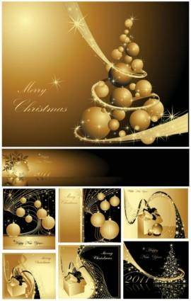 Golden christmas background 2 vector