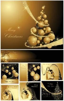 free vector Golden christmas background 2 vector