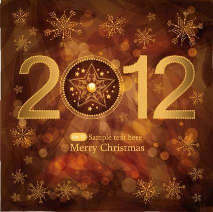 free vector Brown gorgeous christmas background 01 vector