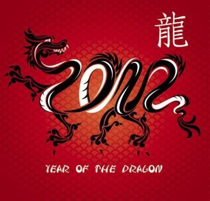 Chinese dragon background vector