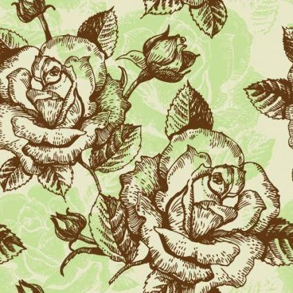 free vector Rose pattern background 02 vector