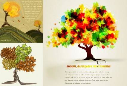 Autumn trees cartoon background pattern vector