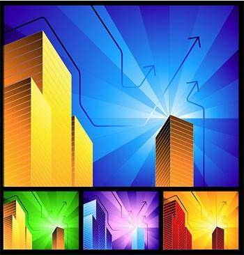 free vector Highrise buildings with simple background radiation vector