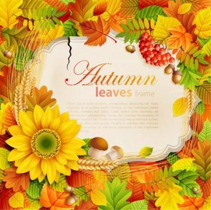 free vector Beautiful autumn leaves frame background 07 vector