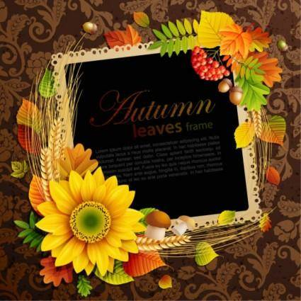Beautiful autumn leaves frame background 08 vector