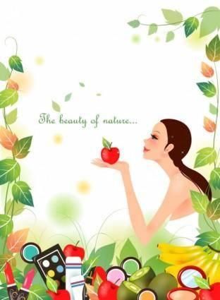 free vector Cartoon beauty vector background 02