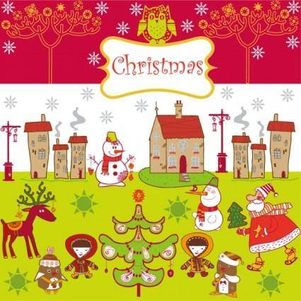 Cartoon christmas background 01 vector