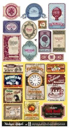 free vector European nostalgia label vector