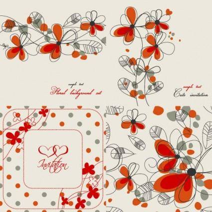 free vector Elegant floral background pattern 02 vector