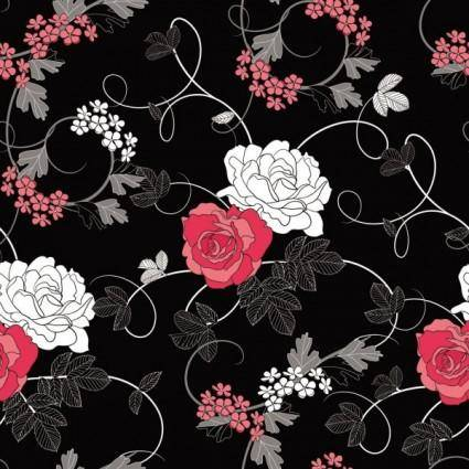 Black background floral 01 vector