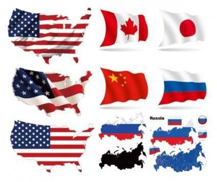 Several countries flag map vector