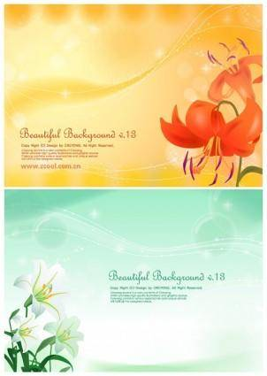 2 lilies and background vector