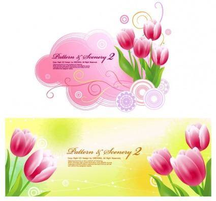 free vector Tulips and vector fantasy background