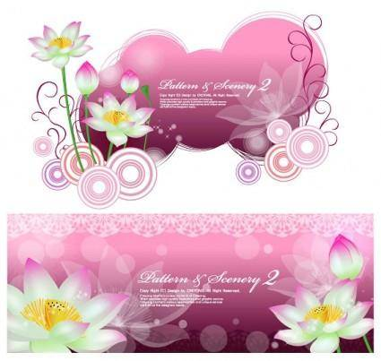 free vector Lotus and vector fantasy background