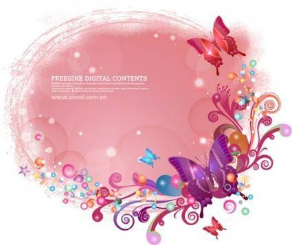 Butterflies and colorful background pattern vector