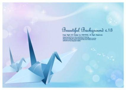 free vector Paper cranes and vector fantasy background