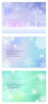 3 fluttering snowflakes vector background