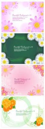 4 cute little daisy background vector