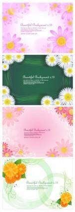 4 cute little daisy background vector