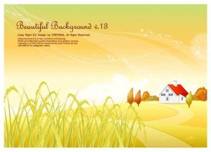 Autumn rice pastoral background vector