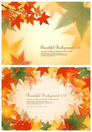 free vector 2 maple leaf background vector
