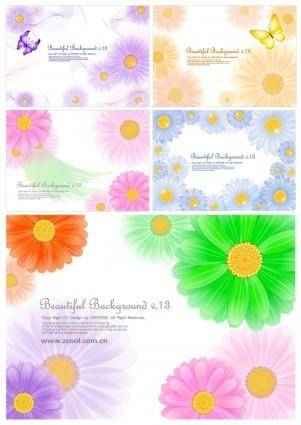 free vector 5 cute little daisy background vector