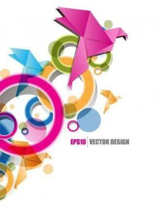 Text of creative origami ribbon design background vector 2