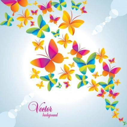 free vector Colorful butterfly background vector 2