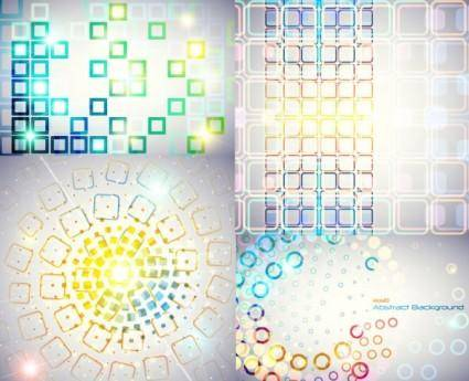 free vector Symphony of circular and square background vector