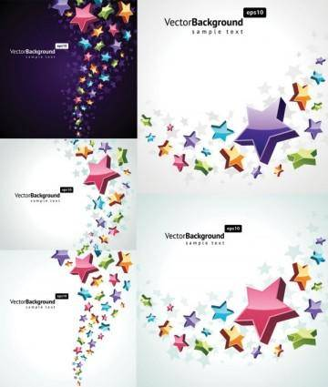 free vector Colorful threedimensional star background vector
