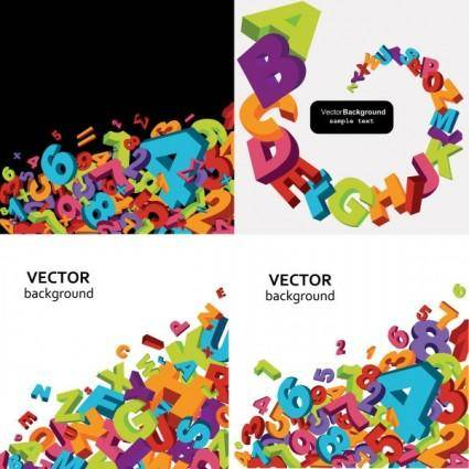 Threedimensional alphanumeric vector background vector
