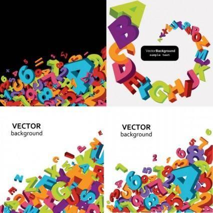 free vector Threedimensional alphanumeric vector background vector