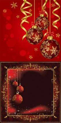 Beautiful christmas ball background vector 16141