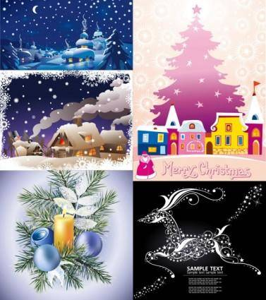 free vector Cartoon christmas ornaments background vector