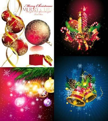 Christmas ornaments beautiful background vector