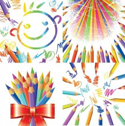 Color pencil theme vector