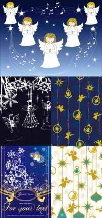 free vector Angel christmas background vector