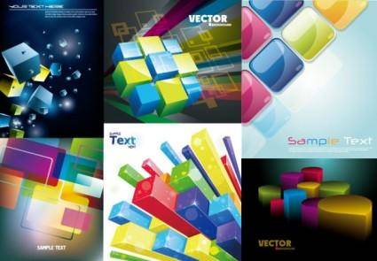 free vector Colorful threedimensional vector background