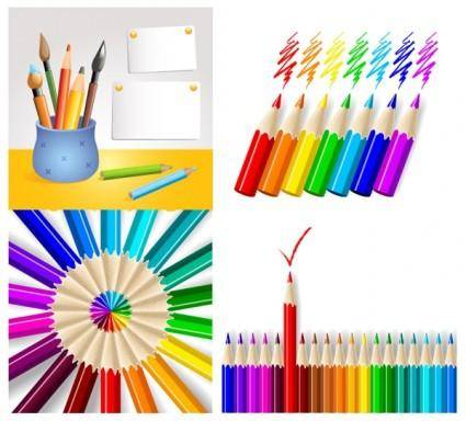 free vector Colored pencil series vector