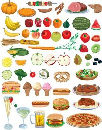 Food fruits and vegetables vector