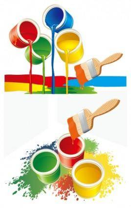 Vector colorful paint bucket