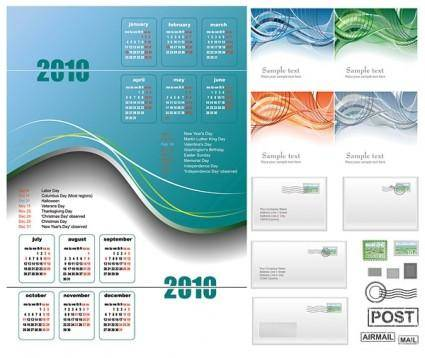 free vector 2010 calendar lines and email vector