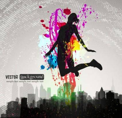 free vector Fashion color splash background 05 vector
