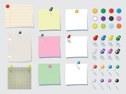 free vector Paper notes vector pin