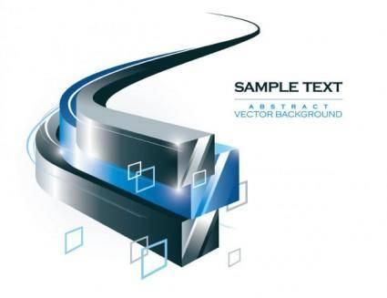free vector Threedimensional dynamic flow line box background 02 vector